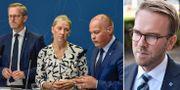 Inrikesminister Mikael Damberg (S), Karolina Skog (MP) och justitieminister Morgan Johansson (S)/KD:s Andreas Carlson. TT