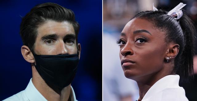Michael Phelps och Simone Biles.  TT