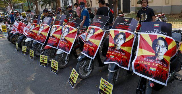 Demonstrationer i Myanmar. TT NYHETSBYRÅN