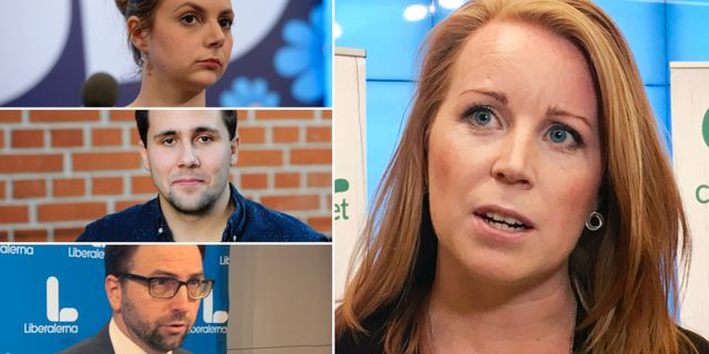 Paula Bieler (SD), Benjamin Dousa (M), Fredrik Malm (L) och Annie Lööf (C). TT