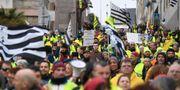 Bild från en Gula västarna-protest.  FRED TANNEAU / AFP