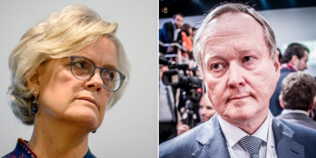 Carola Lemne, vd för Svenskt Näringsliv, och Leif Östling, avgående ordförande.  TT