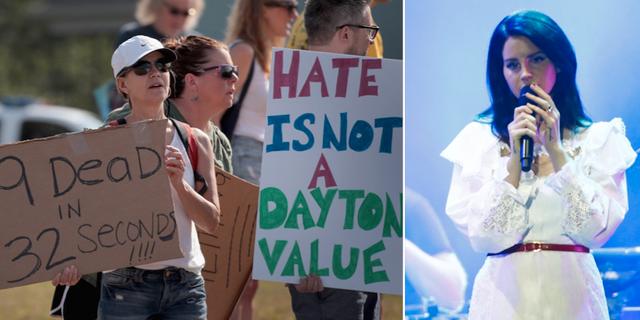 Demonstranter i Dayton, Ohio/Sångerskan Lana Del Rey. TT