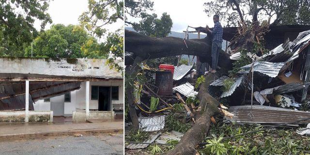 Förstörda hus i Moçambique / nedfallna träd i Komorerna där cyklonen har dragit förbi.  TT