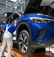 Arkivbild: Volkswagenfabriken i Zwickau, Tyskland.  Hendrik Schmidt / TT NYHETSBYRÅN