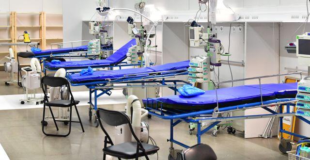 Bild från fältsjukhuset i Älvsjö.  Jonas Ekströmer/TT / TT NYHETSBYRÅN