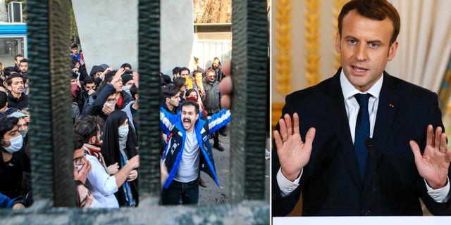 Protesterna i Iran/Emmanuel Macron. TT