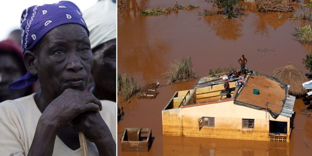 En kvinna köar för att få mat efter cyklonen i Moçambique.  TT