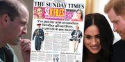 Prins William och prins Harry tillsammans med Meghan Markle/Sunday Times förstasida. TT
