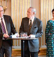 Delar av förra årets Nobelkommité: Anders Olsson, Per Wästberg, Rebecka Kärde och  Mikaela Blomqvist. Anders Wiklund/TT / TT NYHETSBYRÅN