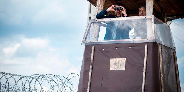 Italiens vice premiärminister Matteo Salvini och Ungerns premiärminister Viktor Orbán vid Ungerns gräns igår.  BALAZS SZECSODI / HUNGARIAN PRIME MINISTER'S OFFIC