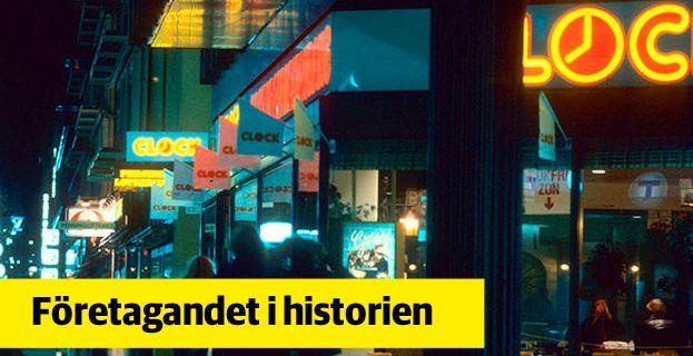 Clock hamburgarestaurang ägdes från 1976 till 1987 av det statliga SARA. Här syns en av restaurangerna på Regeringsgatan i Stockholm någon gång under 1980-talet. Bild ur SARA:s historiska arkiv hos Centrum för Näringslivshistoria.