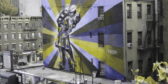 High Line Park Mural sedd av någon som har protanopi. Lenstore