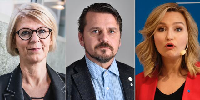 M:s ekonomiskpolitiska talesperson Elisabeth Svantesson, SD:s infrastrukturpolitiska talesperson JImmy Ståhl och KD:s partiledare Ebba Busch Thor. TT