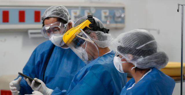 Sjukvårdspersonal i Mexiko, där flest inom kategorin vårdpersonal dött med covid-19. Eduardo Verdugo / TT NYHETSBYRÅN
