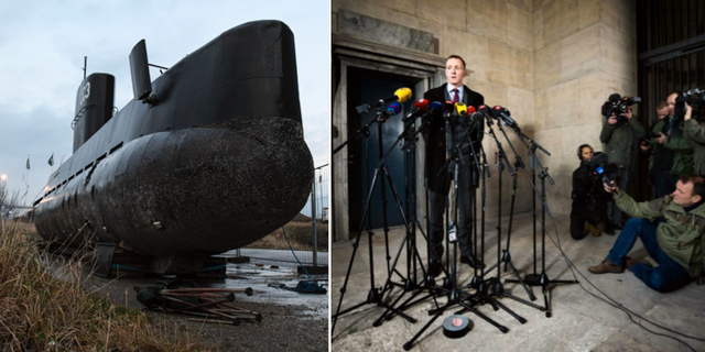 Den bärgade ubåten/åklagaren Jakob Buch-Jepsenpå tisdagens presskonferens. TT