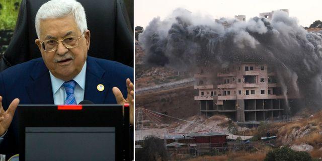 Mahmoud Abbas och ett hus som sprängs i Sur Baher. AP