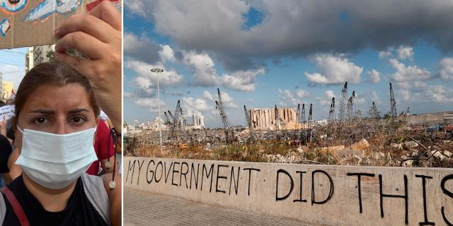 En kvinna demonstrera/grafitti målad på en mur intill hamnen i Beirut där explosionen ägde rum.  TT