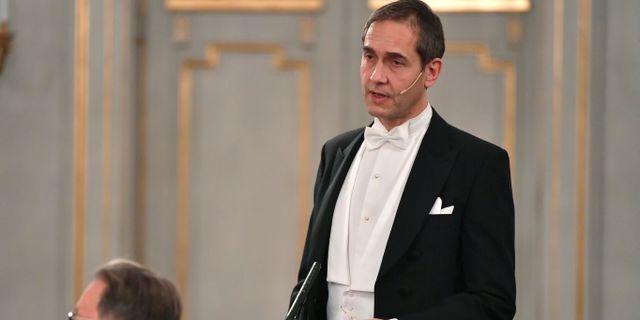 Mats Malm håller sitt inträdestal vid Svenska Akademiens högtidssammankomst i Börshuset den 20 december 2018.  Henrik Montgomery/TT / TT NYHETSBYRÅN