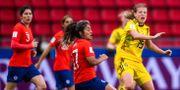 Anna Anvegård under matchen mot Chile.  SIMON HASTEGÅRD / BILDBYRÅN