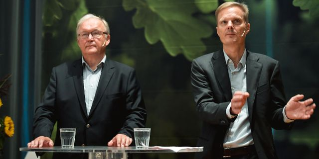 Swedbanks ordförande Göran Persson och tillträdande vd Jens Henriksson.  Pontus Lundahl/TT / TT NYHETSBYRÅN