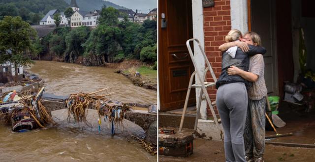 Översvämningar t v, två kvinnor omfamnas efter skyfallen i Tyskland t h TT