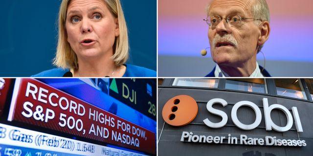 Magdalena Andersson presenterar budgetprognos, riksbankschefen Stefan Ingves, rekord på Wall Street, medicinteknikbolaget Sobi. TT