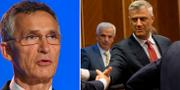 Jens Stoltenberg och Kosovos president Hashim Thaci. Visar Kryeziu.