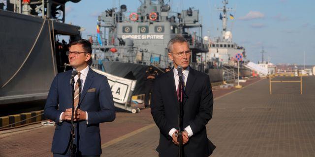Natochefen Jens Stoltenberg och Ukrainas vice premiärminister. OLEKSANDR GIMANOV / AFP