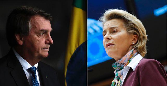 Jair Bolsonaro och Ursula von der Leyen, EU-kommissionens ordförande.  TT