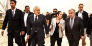 FN:s generalsekreterare Antonio Guterres och Libyensändebudet Ghassan Salame. ABDULLAH DOMA / AFP