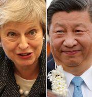 Från vänster: Vladimir Putin, Theresa May, Xi Jinping, Donald Trump TT