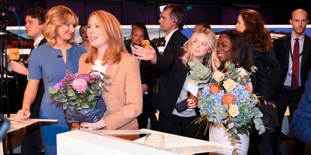Kristdemokraternas partiledare Ebba Busch Thor (KD), Centerpartiets partiledare Annie Lööf (C) och Liberalernas partiledare Nyamko Sabuni (L) Fredrik Sandberg/TT / TT NYHETSBYRÅN