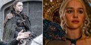 """Maisie Williams spelar Arya Stark under inspelningen av den sjunde säsongen av """"Game of thrones"""". Emilia Clarke som Daenerys Targaryen. HBO"""