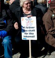 Arkivbild/PRO höll demonstration i Stockholm 2010.  PONTUS LUNDAHL / TT / TT NYHETSBYRÅN