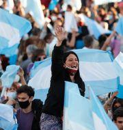 Protester i Buenos Aires.  Natacha Pisarenko / TT NYHETSBYRÅN