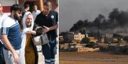 En kvinna får hjälp i Akcakale i Turkiet/Rök stiger från Tal Abyad i Syrien. AP