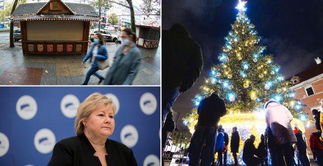 Stängd julmarknad i Tyskland/Norges Erna Solberg/Julgran i Polen. TT