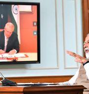 Morrison i samtal med Modi. TT NYHETSBYRÅN