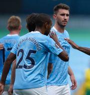 Manchester City jublar efter ett mål mot Norwich. Dave Thompson / TT NYHETSBYRÅN