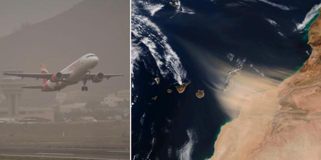 Satellitbild från Nasa till höger.  TT