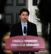 Justin Trudeau under söndagens pressträff om coronaviruset. Justin Tang / TT NYHETSBYRÅN