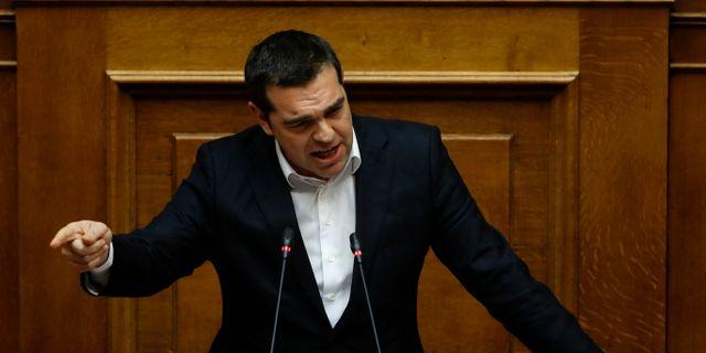 Greklands premiärminister Alexis Tsipras under debatten Thanassis Stavrakis / TT NYHETSBYRÅN/ NTB Scanpix