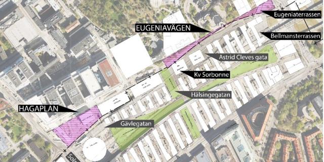 Eugeniavägen mot Hagaplan. Stockholms stad