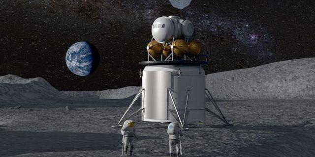Animation av hur en framtida månlandning kan se ut.  Nasa