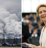 Tyskt kolkraftverk och Ursula von der Leyen. TT