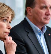 Socialförsäkringsminister Annika Strandhäll tillsammans med Stefan Löfven.  Johan Nilsson/TT / TT NYHETSBYRÅN