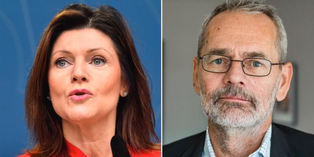 Arbetsmarknadsminister Eva Nordmark och Anders Ferbe. TT