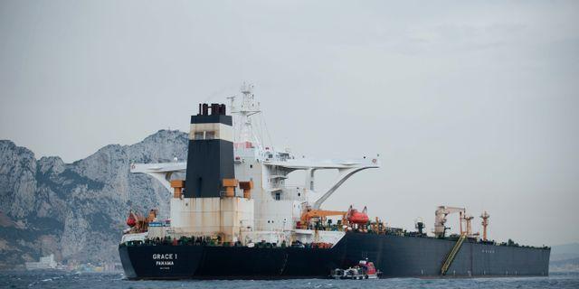 Grace 1 som beslagstogs utan Gibraltars kust.  JORGE GUERRERO / AFP