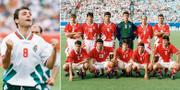 Bulgariens storstjärna Hristo Stoitjkov och landets startelva i en av VM-matcherna 1994. TT